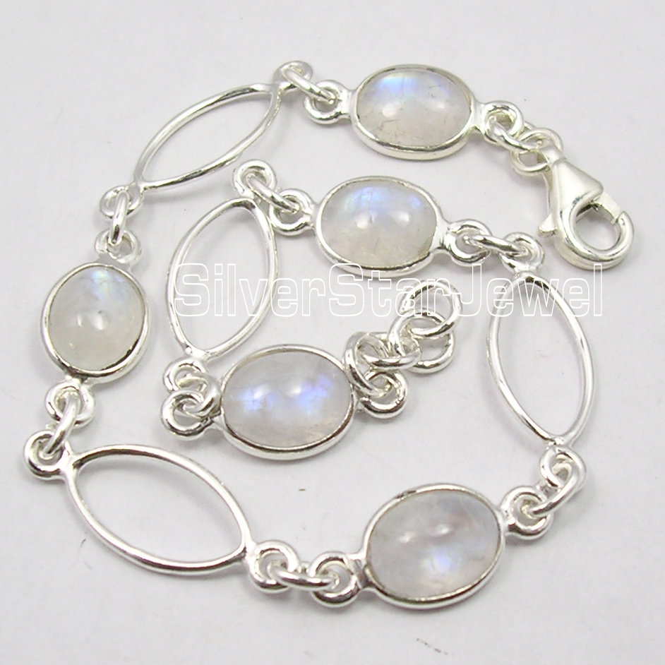 925-Sterling-Silver-Original-RAINBOW-MOONSTONE-5-Gem-EXTRA-ORDINARY-Bracelet-8-034