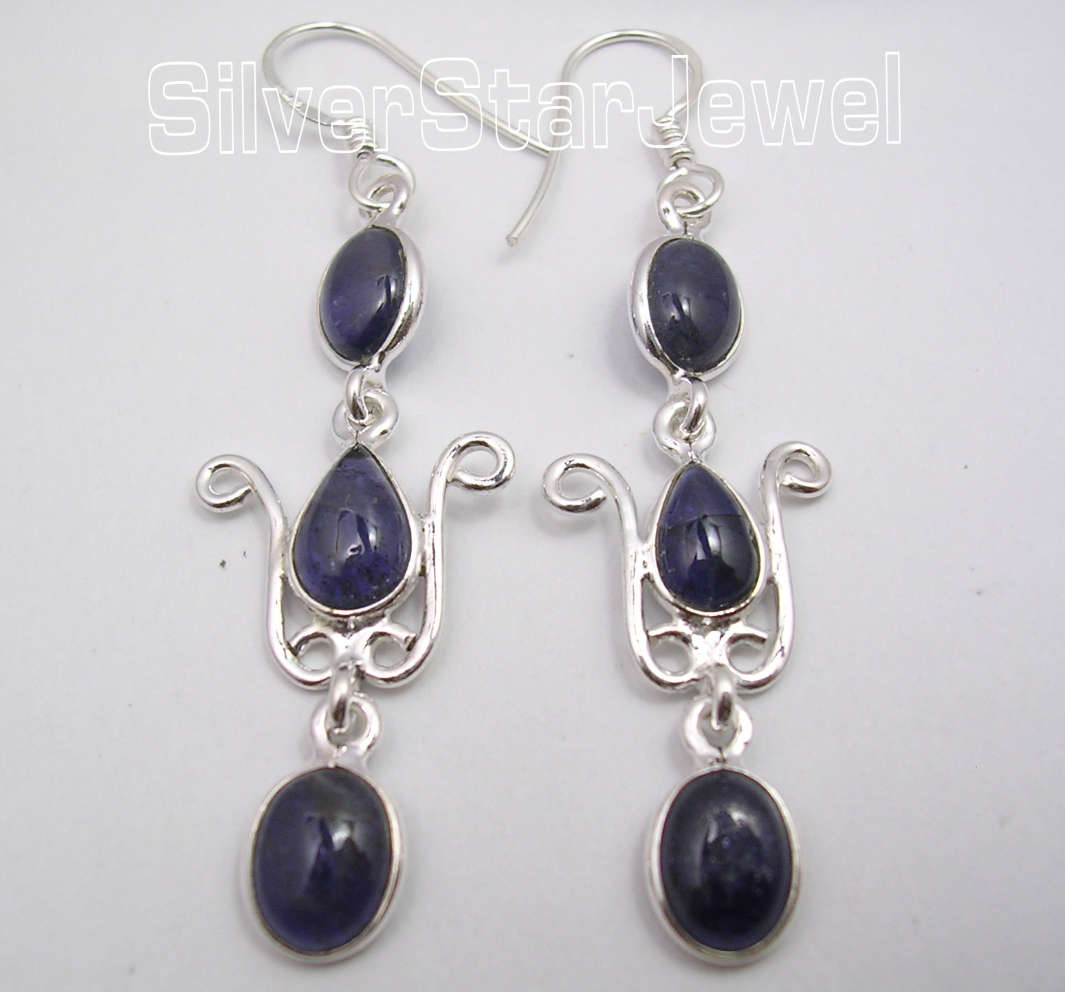 925-Solid-Silver-Collectible-IOLITE-3-Gemstone-Long-DANGLING-Earrings-2-2-034