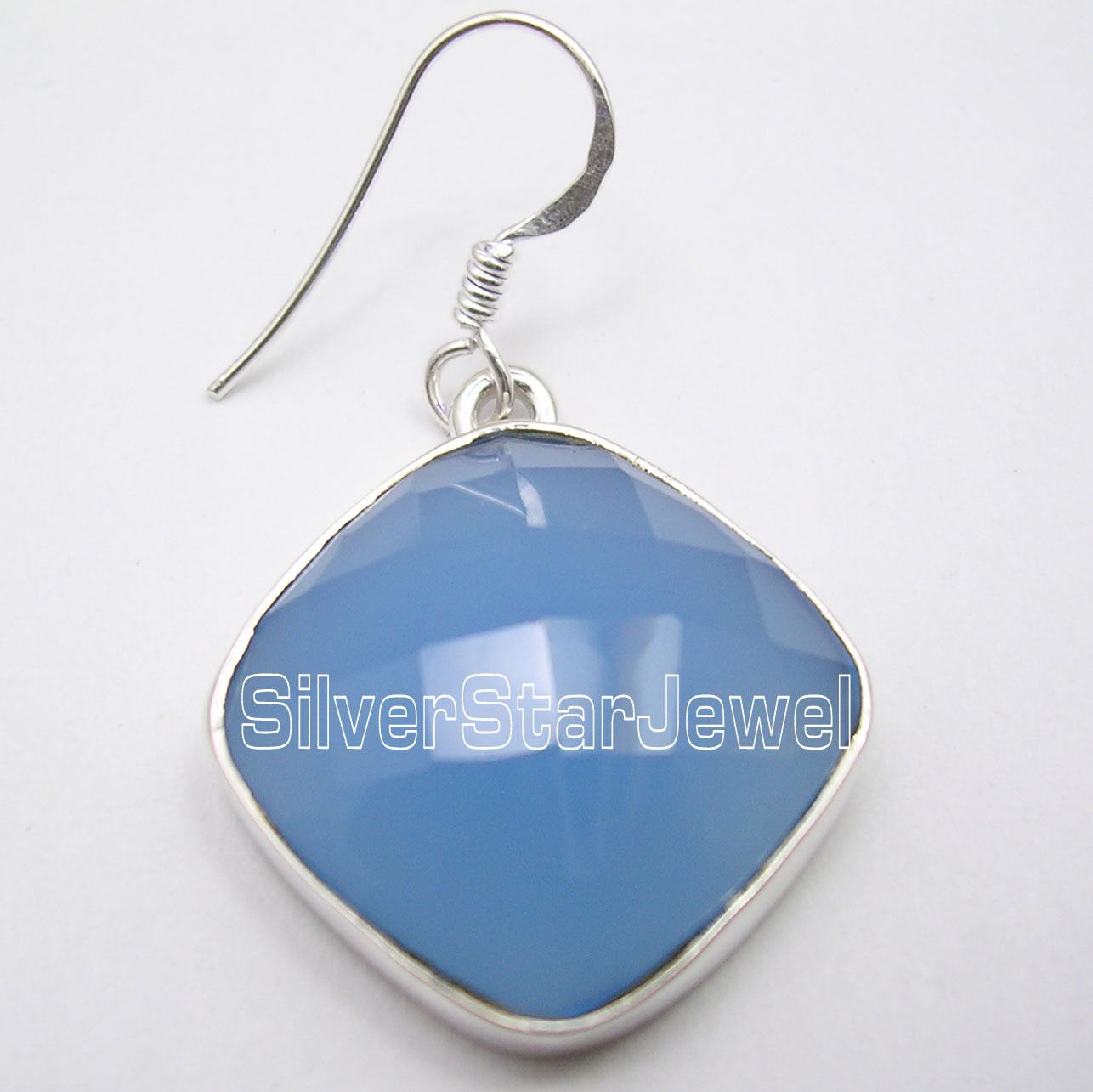 SQUARE CUT CHALCEDONY Gemstone Earrings 1.6 Inches 925 Solid Silver 13.6 Grams