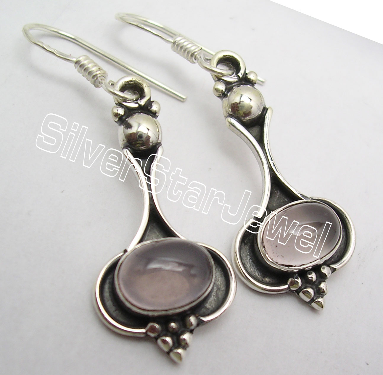 925-Silver-Wonderful-OVAL-PINK-ROSE-QUARTZ-Oxidized-HANDCRAFTED-Earrings-4-2-CM