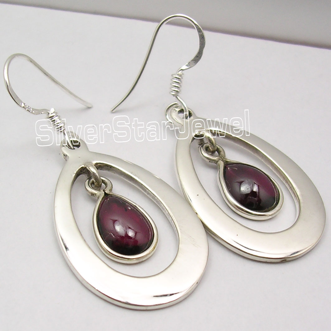 925-Solid-Silver-Real-RED-GARNET-Gorgeous-INEXPENSIVE-Earrings-4-4-CM-BIJOUX