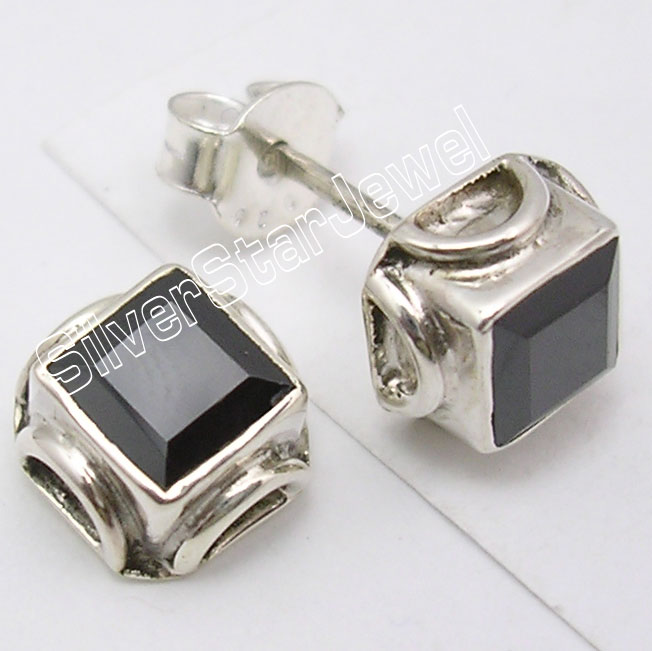 925-Sterling-Silver-BLACK-ONYX-GEMSTONE-Wonderful-Exclusive-Studs-Earrings-7-CM