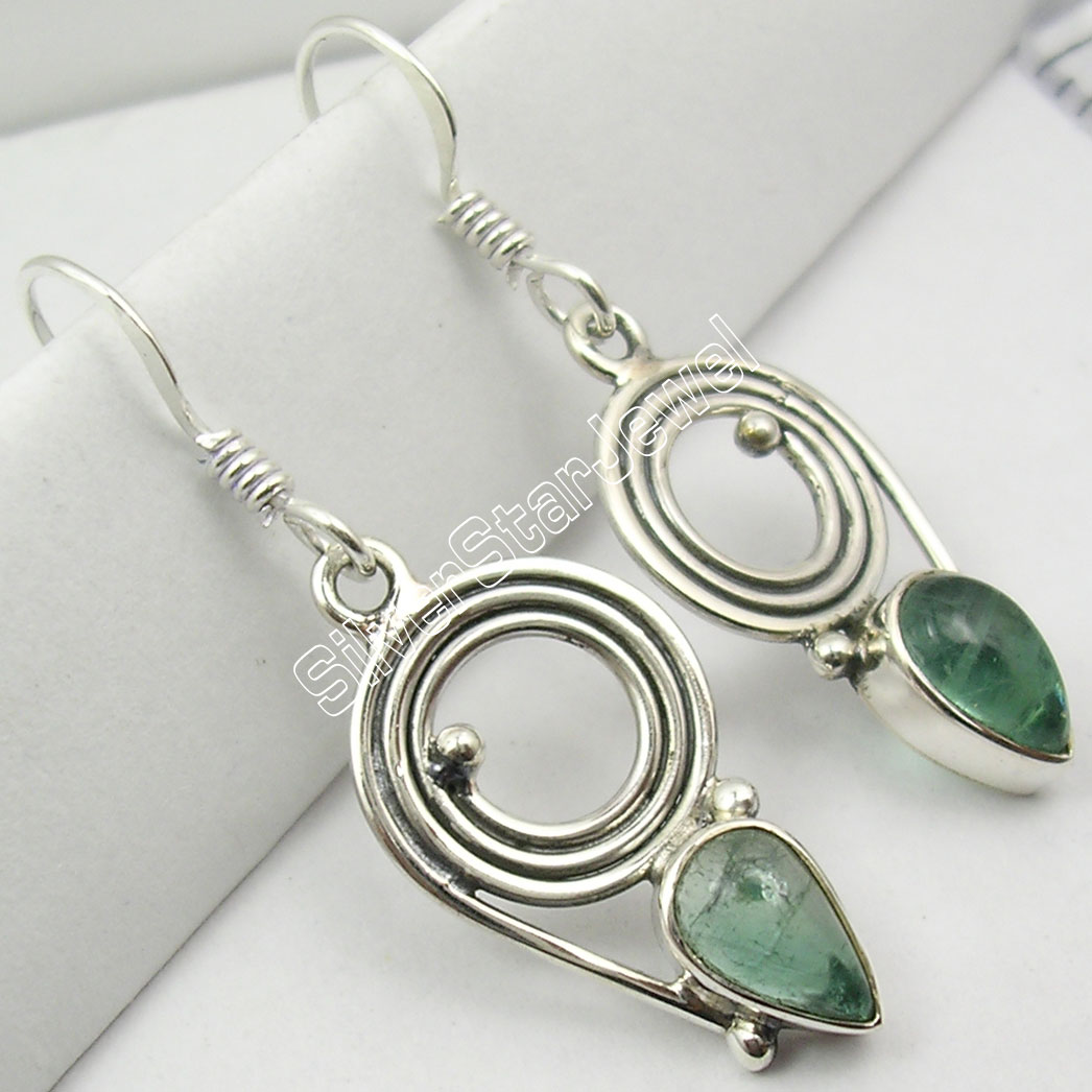 925-Sterling-Silver-Authentic-APATITE-Gem-SPIRAL-ONE-OF-A-KIND-Earrings-3-6-CM