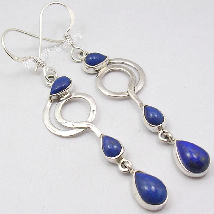 3-GEMSET-LONG-Earrings-925-Silver-GENUINE-LAPIS-LAZULI-ART-Jewelry-2-4-034