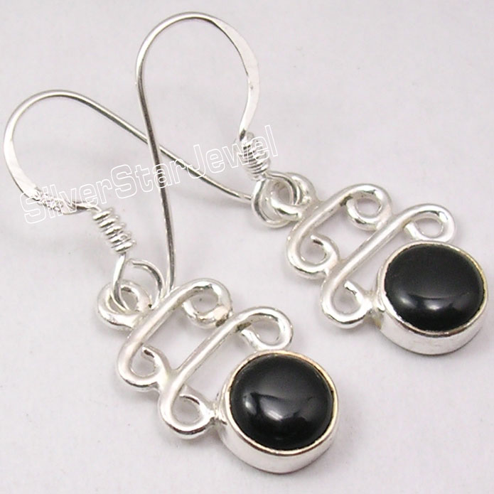 925-Pure-Silver-Fancy-BLACK-ONYX-Beautiful-FACTORY-DIRECT-Earrings-1-3-034-NEW