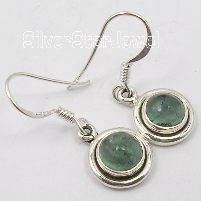 925-Solid-Silver-Beautiful-CABOCHON-APATITE-Gem-ELEGANT-India-Earrings-2-7-CM