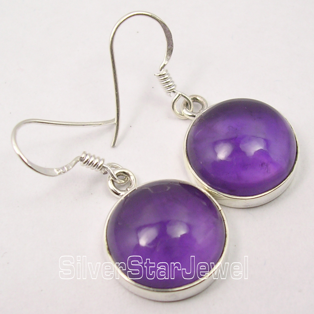 925-Pure-Silver-PURPLE-CABOCHON-AMETHYST-HANDCRAFTED-Earrings-3-4-CM-ONLINE-BUY