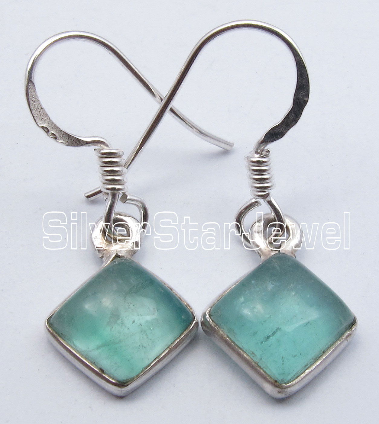 925-Solid-Silver-Sparkling-GREEN-APATITE-WOMEN-039-S-Square-NEW-Earrings-1-1-034