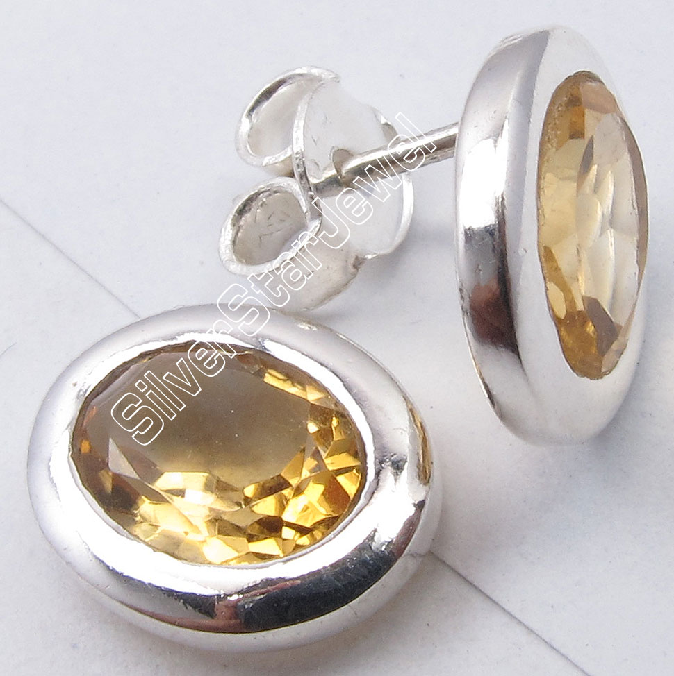 925-Sterling-Silver-Facetted-YELLOW-CITRINE-Oval-LADIES-039-Studs-Earrings-0-4-034