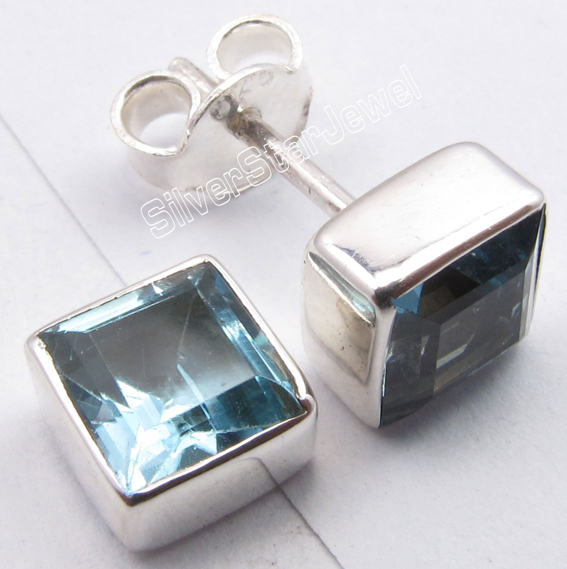 925-Silver-Cut-BLUE-TOPAZ-Studs-TRADITIONAL-Fancy-Earrings-0-3-034-2-0-Grams-NEW