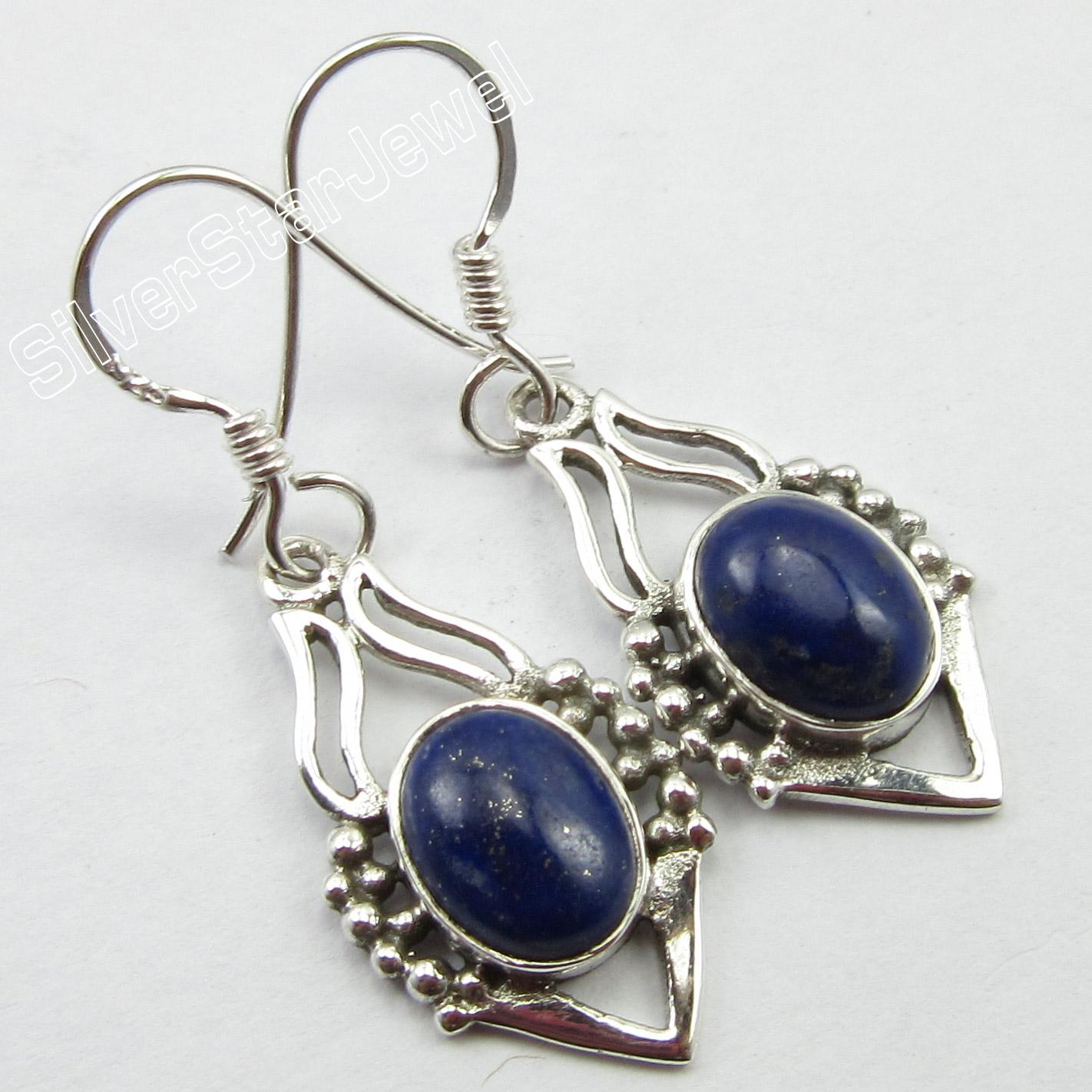 EXTRA-ORDINARY-Earrings-3-6-CM-925-Pure-Silver-LAPIS-LAZULI-Jewelry-4-0-GRAMS