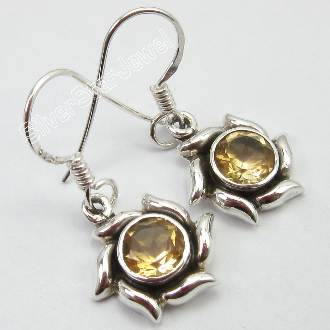 925-Solid-Silver-Classic-YELLOW-CITRINE-1-NEW-Pair-DANGLING-Earrings-1-1-034