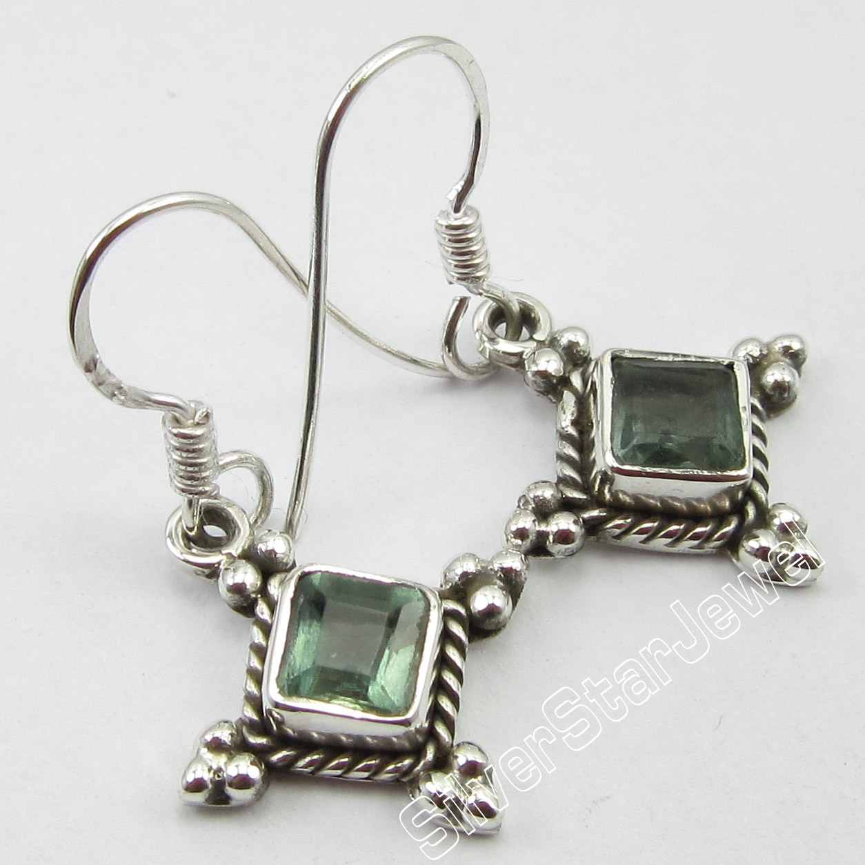 925-Silver-Fancy-SQUARE-GREEN-APATITE-Gemset-HANDMADE-BESTSELLER-Earrings-3-1-CM