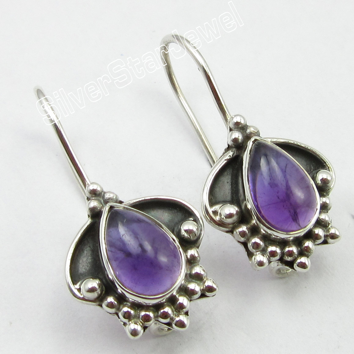 925-Sterling-Silver-Earrings-1-034-Authentic-DROP-CABOCHON-AMETHYST-Jewelry
