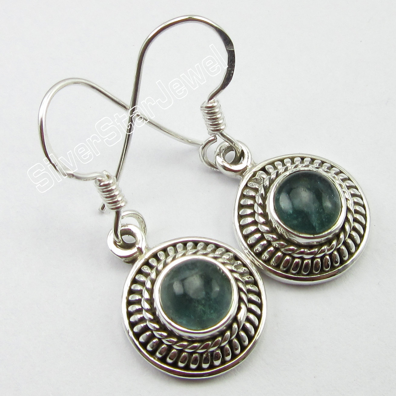 THEME-RETRO-925-Silver-Authentic-APATITE-Gem-HANDCRAFTED-Earrings-3-0-CM