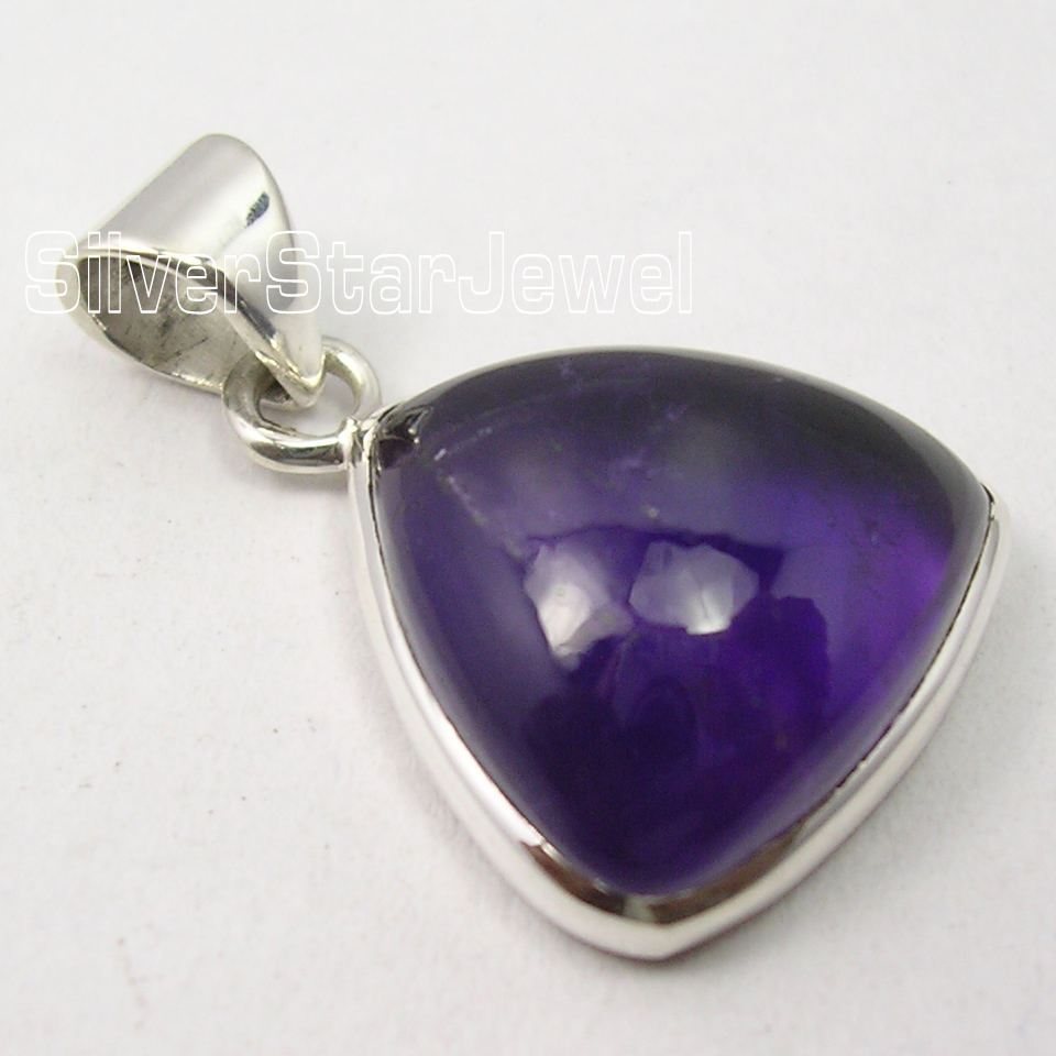 925-Sterling-Silver-Fiery-PURPLE-AMETHYST-RICHFEEL-TRAINGLE-Pendant-1-034-NEW