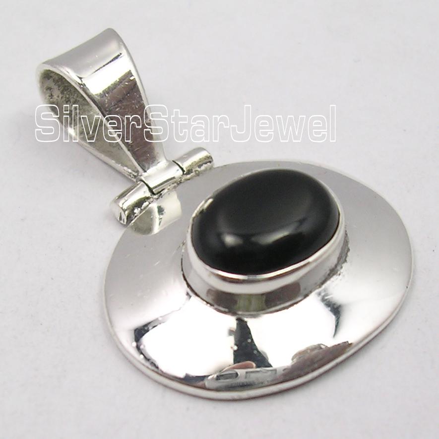 925-Sterling-Silver-Beautiful-CABOCHON-BLACK-ONYX-JEWEL-ART-HINGE-Pendant-1-1-034