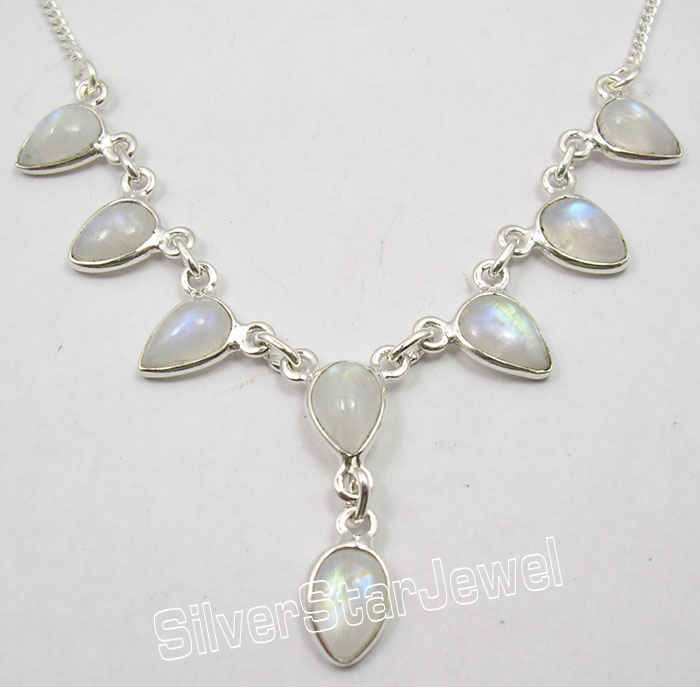 925 Solid Silver Real RAINBOW MOONSTONE Amazing DROPS ...