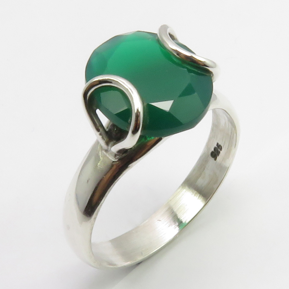 Jewelry Unique Women Wedding Jewelry 925 Sterling Green Onyx & White Topaz Solid Gemstone Ring