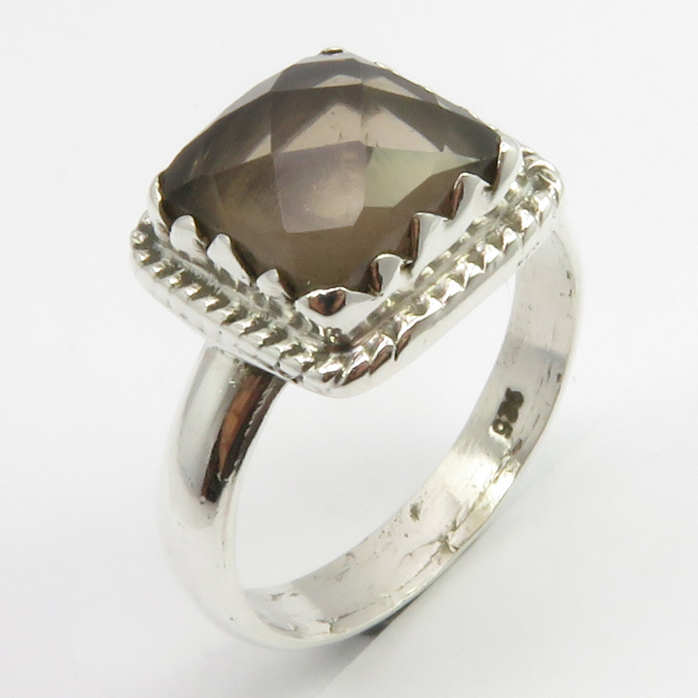 925 Sterling Silver Natural Smoky Quartz Ring Gemstone Jewelry S US 7