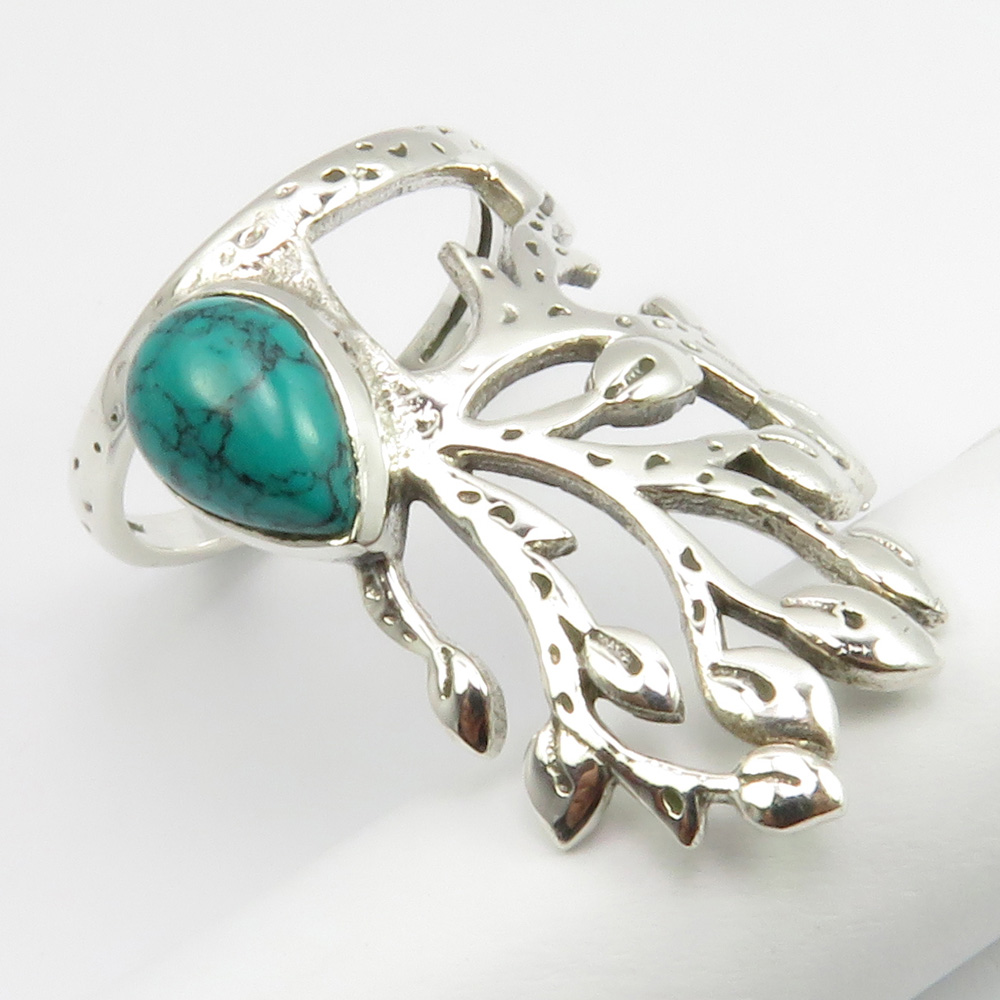 Natural Drop Turquoise Ring Size 6 Face Width 27 mm 925 Ster