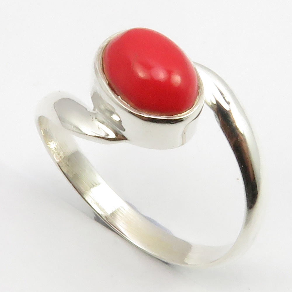 Details about 925 Stamp Sterling Silver Coral Ring Size O Stone Jewelry