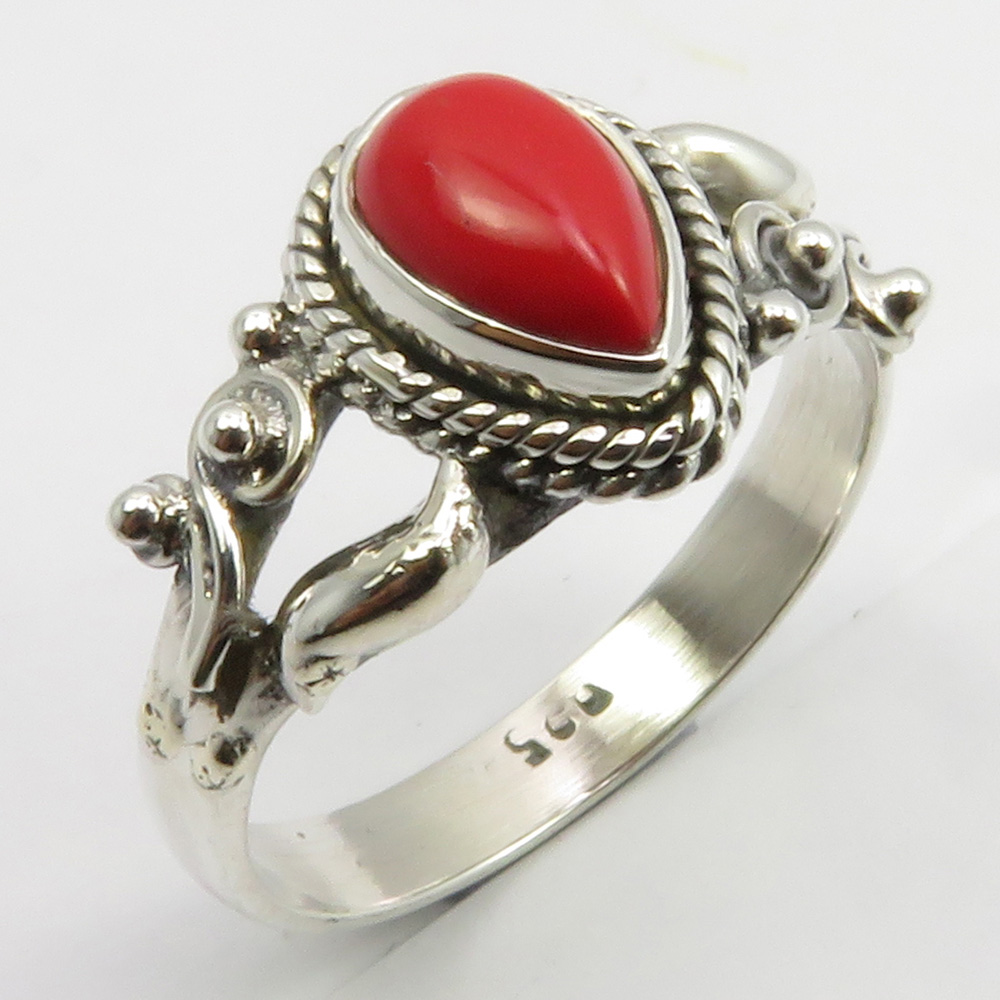 925 Sterling Silver Classic Women Jewelry Coral Ring Size 7