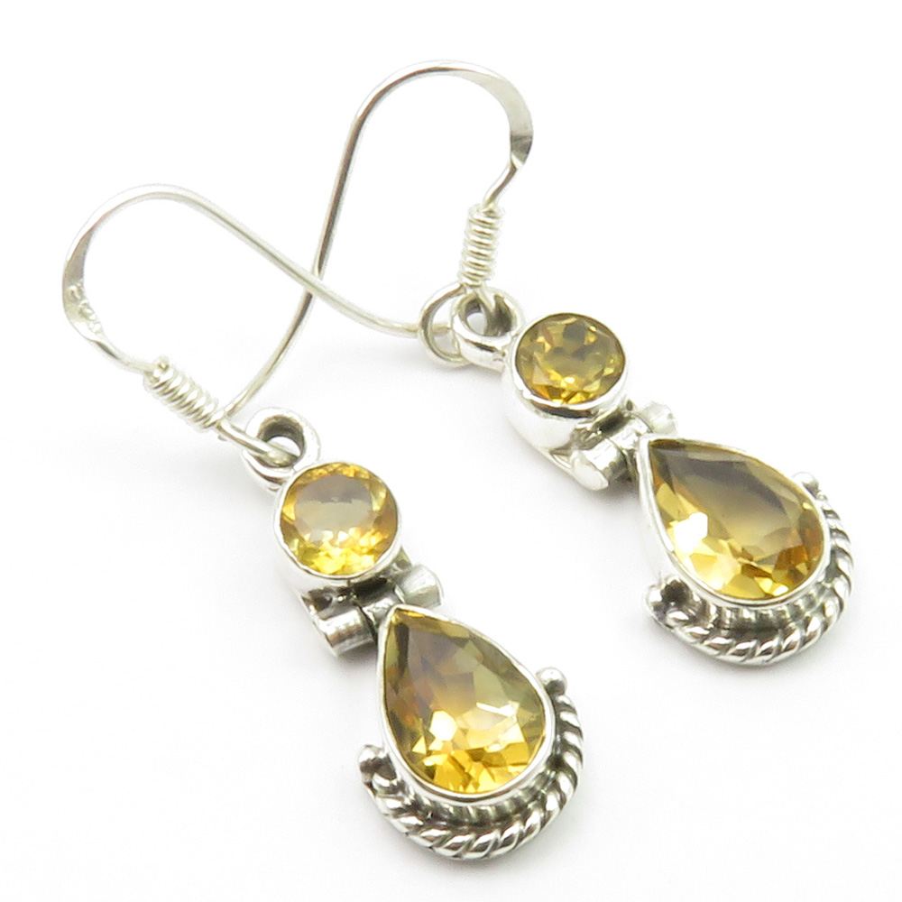 925-Pure-Sterling-Silver-Yellow-Citrine-Drop-Dangle-Earrings-1-3-034-New-Gemstone