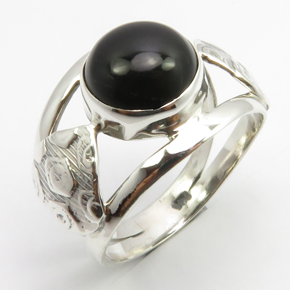 Solid 925 Sterling Silver Latest Jewelry Natural Black Onyx Gemstone Ring Size 5.5