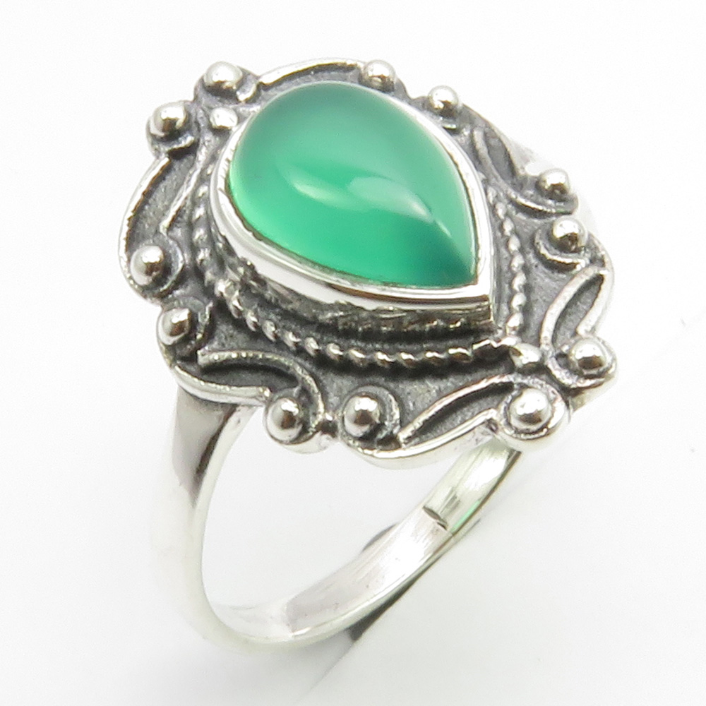 925 Stamp Sterling Silver Cab Green Onyx Ring Size 7 Stone Jewelry