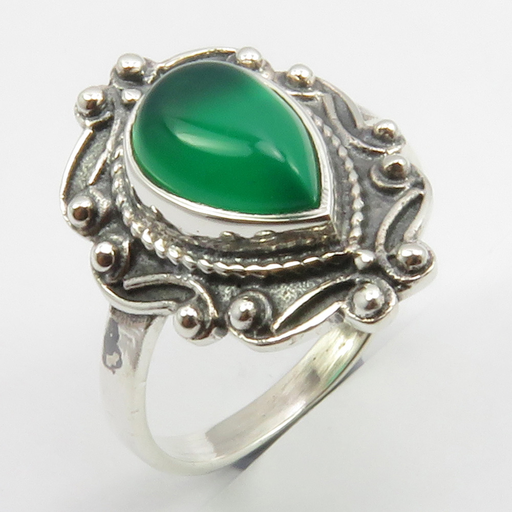 Gift Jewelry Green Malachite Handmade Jewellry 925 Sterling Silver Plated 5 Grams Ring Size 9.5 US
