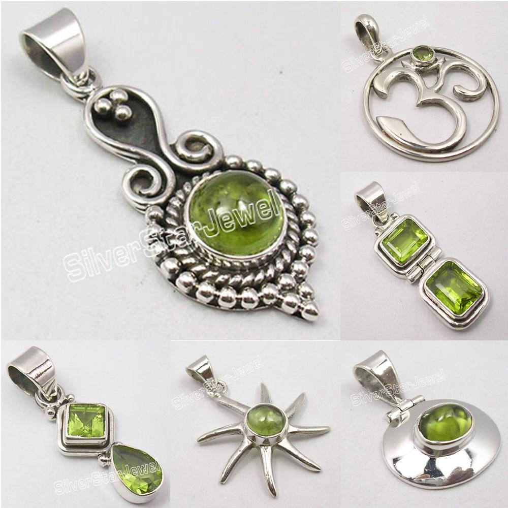 """Art Jewelry Green Earrings 925 Solid Silver Genuine PERIDOT Jewelry 1.3/"""" NEW"""