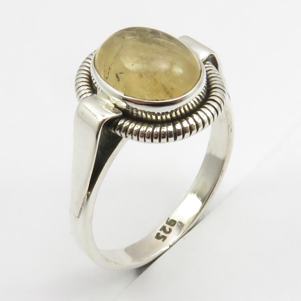 Sterling Silver Ring Golden Rutilated Quartz UK Size P SilverandSoulDesigns 925 Silver US 7.75