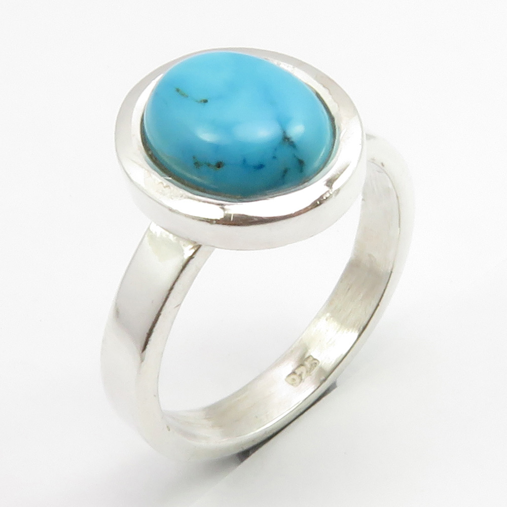 Turquoise Sterling Silver Ring Size 6.75 US