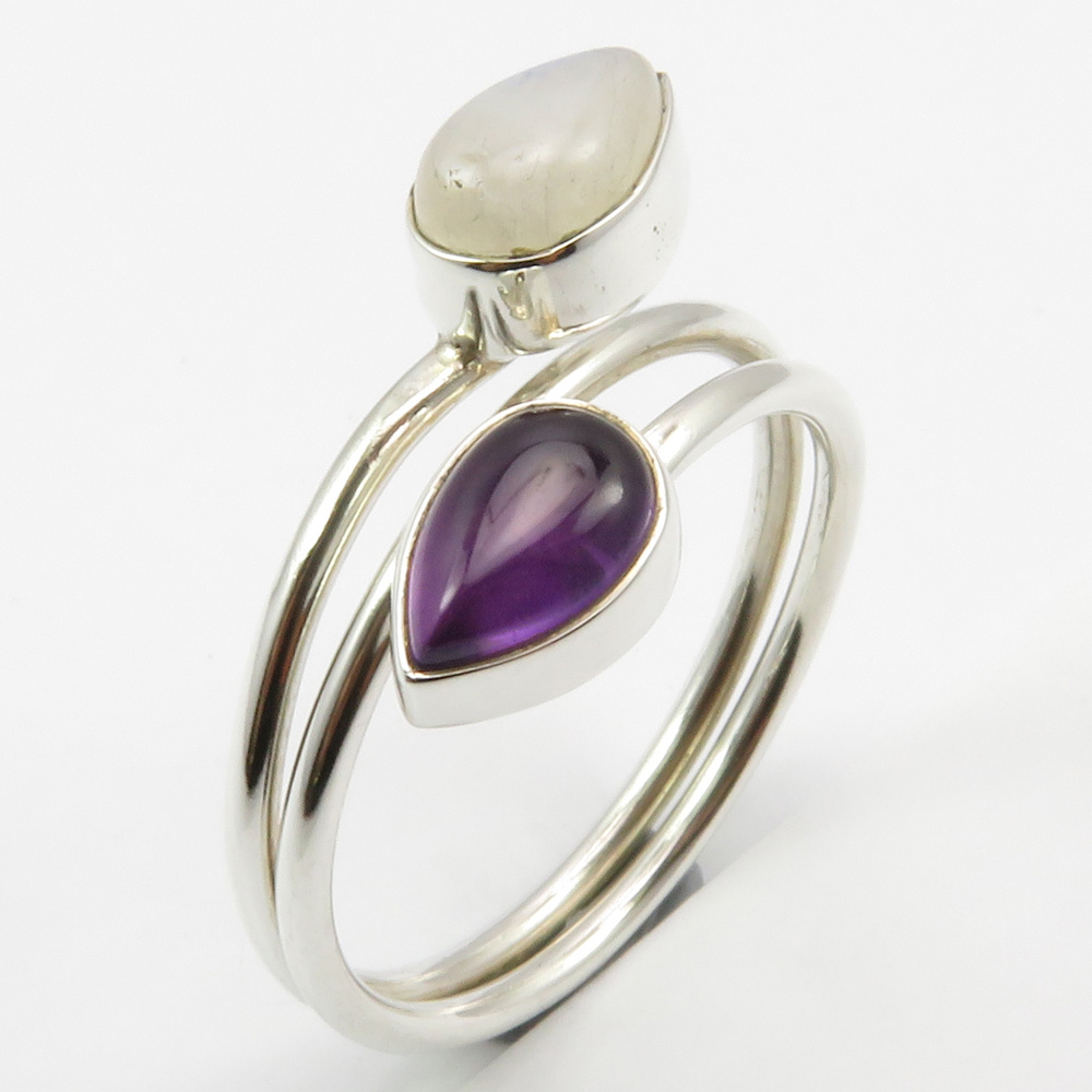 Size 9 Moonstone and Amethyst Ring
