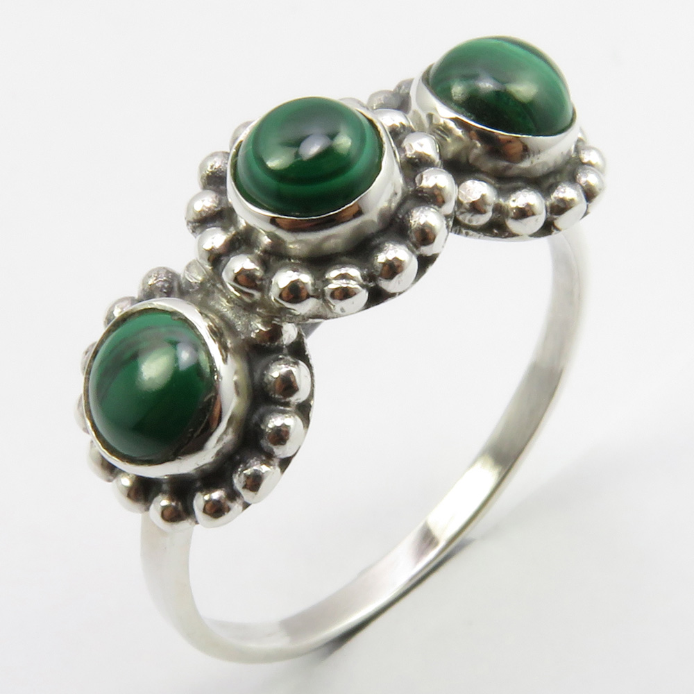 Handmade Fashion Jewellery Collection 925 Sterling Silver Natural Gemstone Jewelry Wholesale Price Women/'s Green MALACHITE Ring Sz 6