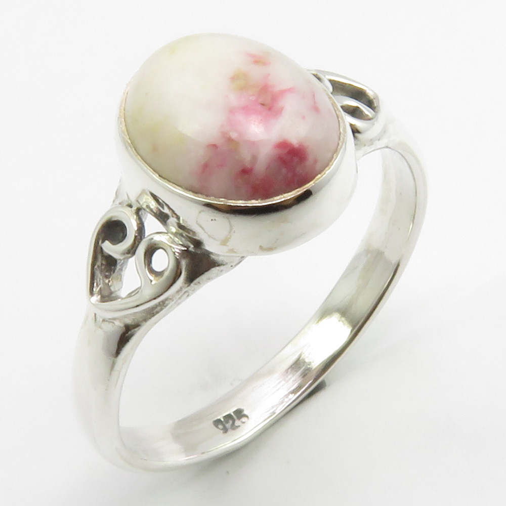 Solid 925 Sterling Silver Jewelry Natural Cinnabar Gemstone Ring