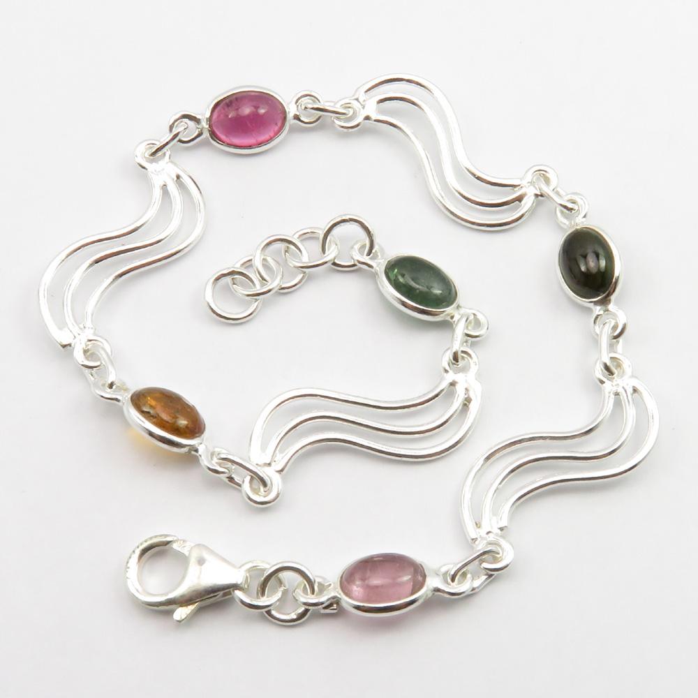 """5 x 7 mm Peridot Chain Bracelet 7.5/"""" 925 Pure Sterling Silver Women Art"""