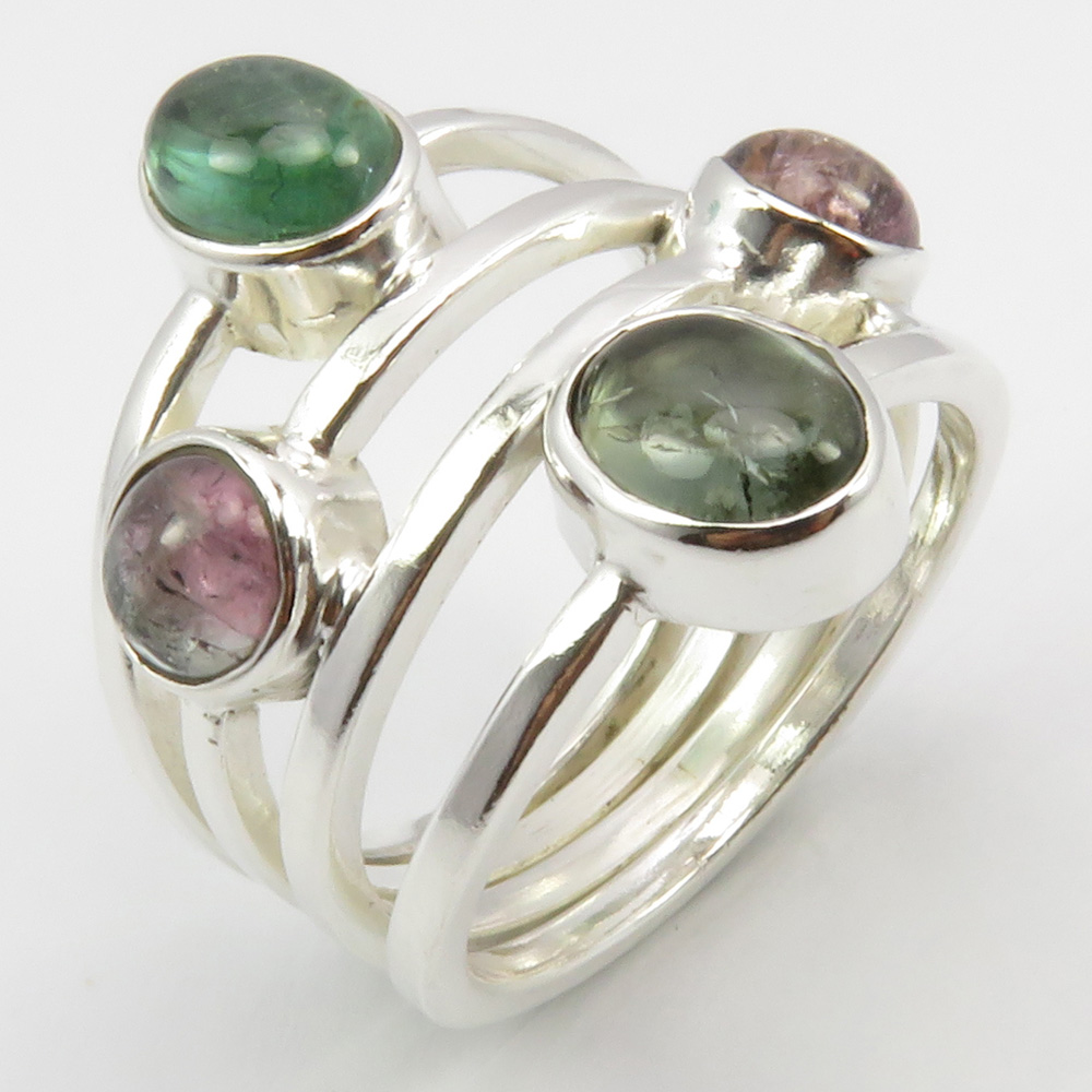 Sterling Silver green tourmaline gemstone ring  silver 925   only available size US 7 12