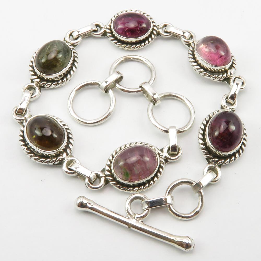 925 Sterling Pure Silver Artisan Jewellery Authentic Stone Handmade Jewelry Cheapest Shipping Multi Gemstone TOURMALINE Bracelet 10 Ct