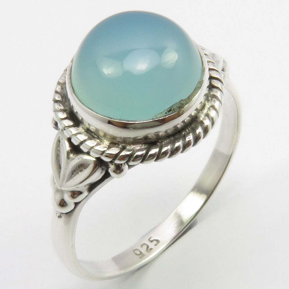 Beautiful Handcrafted 925K Solid Sterling Silver Blue Iace Agate Men/'s Ring DHL Free Shipping