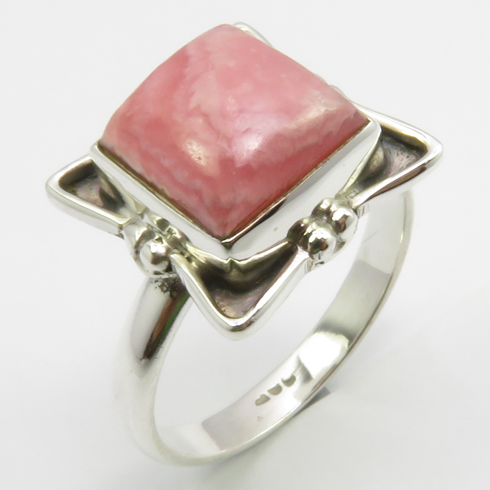 Vintage sterling silver handmade pendant solid 925 silver with pink Rhodochrosite stamped 925
