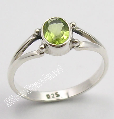 925 sterling silver faceted green peridot gemstone