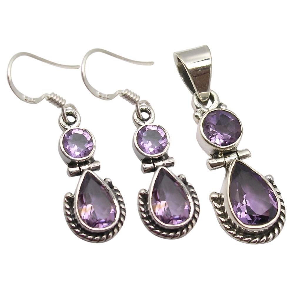 Purple Amethyst Earrings and Bracelet Sterling Silver