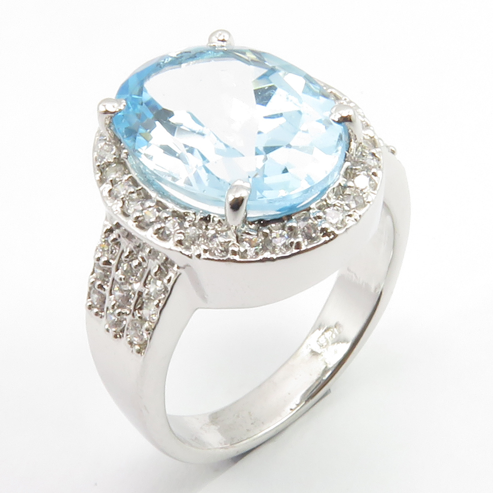 Details about 925 Stamp Solid Silver Natural BLUE TOPAZ New Ring Size 7  FREE EXPRESS SHIPPING