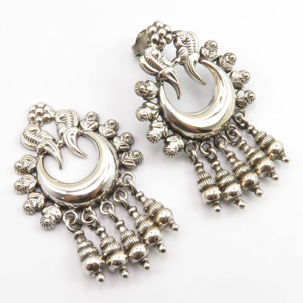 Fantasy Handmade Jewellery Blue Chalcedony Silver Plated 5 Grams Earring 1.5