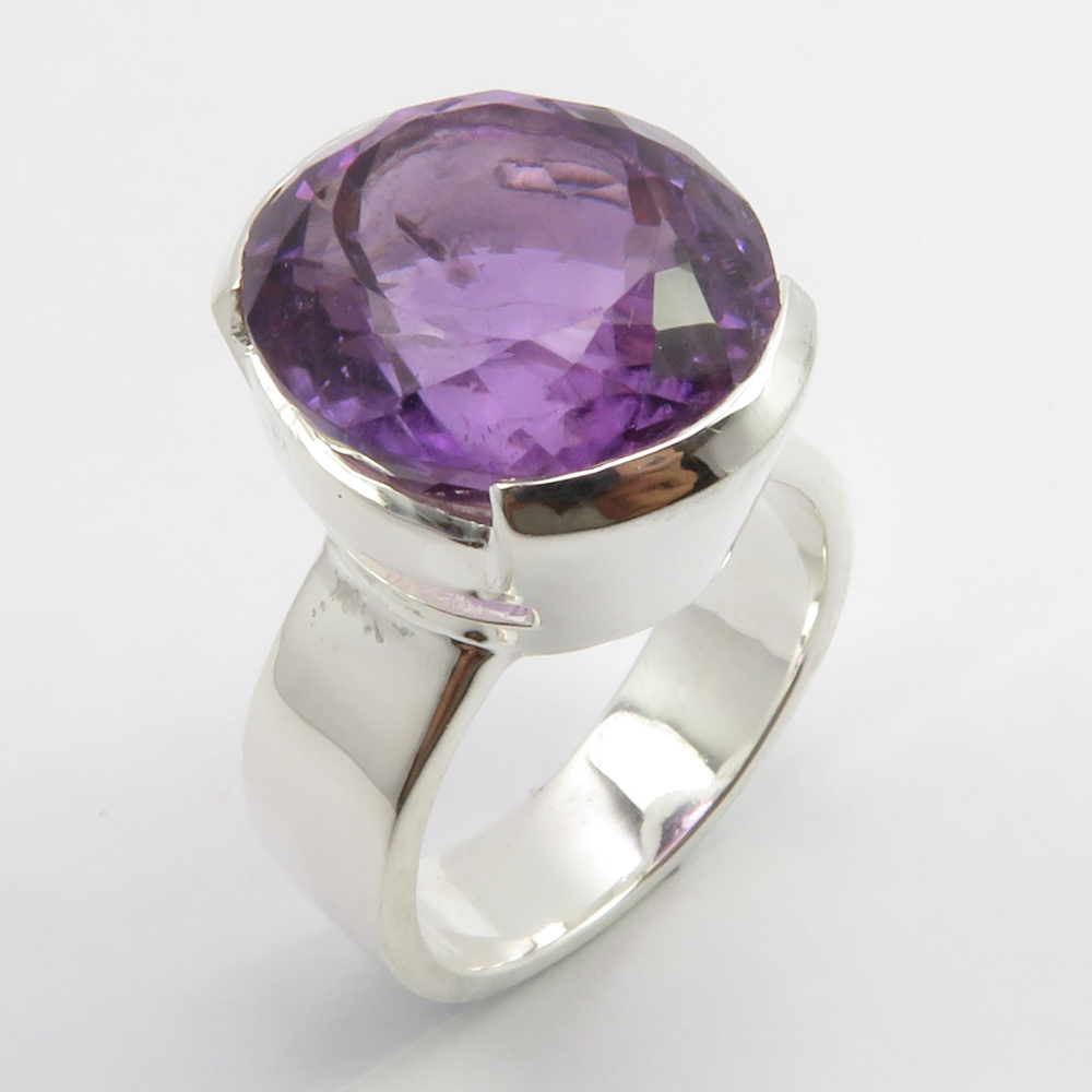 8 Purple Amethyst Solitaire Ornate 925 Sterling Silver Ring Size 6 7 8 3//4