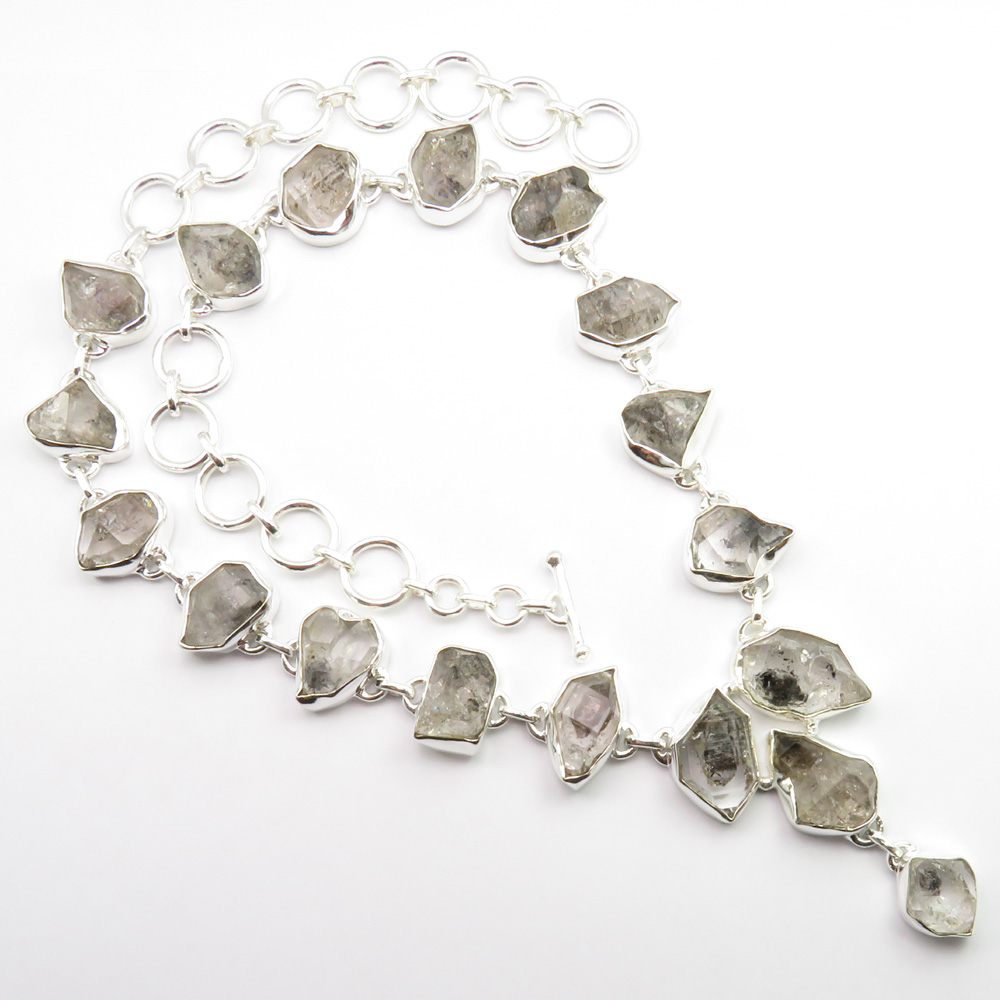 925 Solid Silver Natural Herkimer Diamond Necklace 18 9 Inches