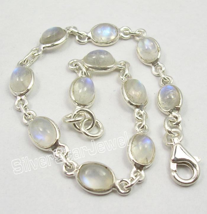 Магазин Камешек - серебряные украшения с натуральными полудрагоценными камнями.  Серебряный браслет с лунными камнями...