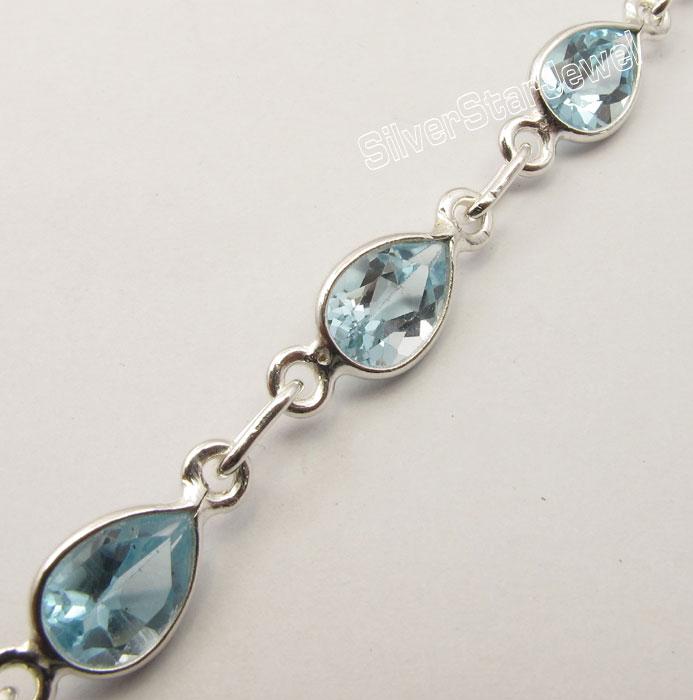 """925 Sterling Silver Drop Cut Topaze bleue fabriquée à la main Bracelet en ligne 8.3/"""" acheter"""